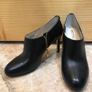 Black Leather Michael Kors Booties